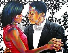 "Black love, White House: ""Barack and Michelle"" by Muhammad Yungai beautiful African American Art, African Art, African History, Joe Biden, Caricatures, Barack Obama, Durham, Art Pictures, Art Images"