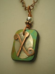 Letter X Alphabet Letter Pendant Copper over by MonkeyCommandoArts, $38.00