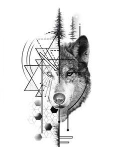Wolf Tattoos Men, Tattoos For Guys, Tattoo Wolf, Mandala Wolf, Flower Mandala, Tattoo Convention, Wolf Tattoo Design, Bee Tattoo, Student Fashion