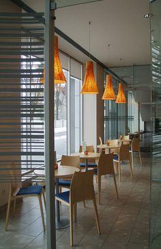 Cafe Interior Design with Custom Designed Lamps