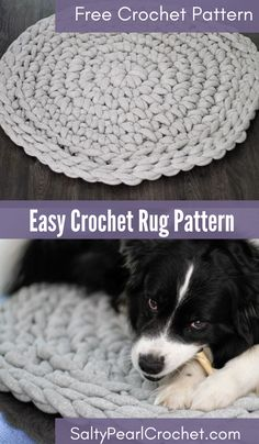 Learn how to make a diy tshirt yarn rug with this easy crochet rug pattern. It even doubles as a crochet dog bed! Free crochet pattern from Salty Pearl Crochet. Diy Crochet Rug, Crochet Carpet, Crochet Rug Patterns, Crochet Crafts, Easy Crochet, Crochet Projects, Free Crochet, Diy Crochet Dog Bed, Knit Rug