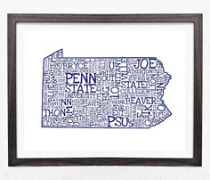 PENN STATE UNIVERSITY Typography 11 x 17  State by EndyThings, $17.00