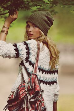 "Love this look for winter with the kinda Bohemian bag mixed with a little bit of a preppy sweater and a cool olive green ""'cold at the beach' or 'goin snowboarding'"" hat!!!"