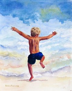 """Boy into the Surf"" by Barbara Rosenzweig. Beach, Child, Home Decor, Fun, Ocean. My exuberant scene shows the pure childish delight at being on the beach - a sense of freedom and absolute joy! This fine art print of my original watercolor painting will brighten up any child's room or a home at the shore! This is the perfect companion piece to ""Girl into the Surf!"" © 2011 by Barbara Rosenzweig, matted art print of original 11x14 $29.00 Free Shipping US - other sizes available Etsy."