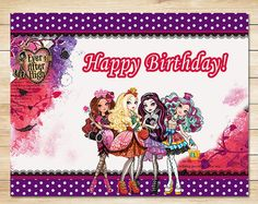 Ever After High Birthday Sign Chalkboard Ever After High