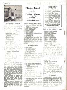 Kitchen Klatter Magazine, October 1944 - Tomato Juice Cocktail, Mexican Succotash, Lemon Chiffon Pie, Green Tomato Mince Meat, Stuffed Peppers, Cottage Cheese Sausage, Home Made Paint Remover, Garden Pickles, Royal Divinity, A Dessert