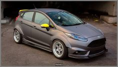 Ford Fiesta ST silver, grey tuning with yellow details Ford Focus Sedan, Pictures Of Sports Cars, Vw Gol, Ford Fiesta St, Good Looking Cars, Car Mods, Honda, Performance Cars, Ford Motor Company