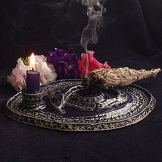 Candle holder/ smudge stick tray