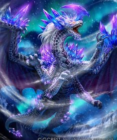"""Like dragon from """"Dragon Cry - Fairy Tail"""" movie Mythical Creatures Art, Mythological Creatures, Magical Creatures, Pet Anime, Anime Wolf, Anime Art, Arte Assassins Creed, Mythical Dragons, Crystal Dragon"""