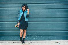 Fall Outfit Idea, Denim Jacket, Black Dress, Sweenee Style, Indianapolis style blog,