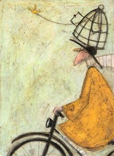 'Joyce Goes On Ahead' ,, made by: Sam Toft Encaustic Art, Naive Art, Texture Art, Whimsical Art, Pictures To Paint, Lovers Art, Watercolor Art, Illustrators, Folk Art