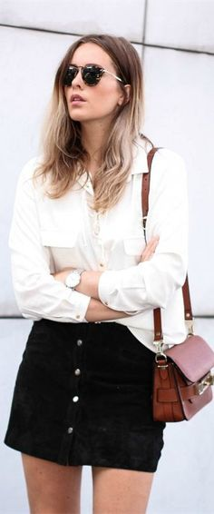 Black suede skirts look just incredible with a white blouse! #mallchick #fashion