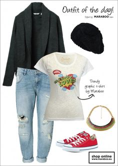 Maraboo-what to wear Going To Work, Boyfriend Jeans, Casual Chic, All Star, Outfit Of The Day, Boy Or Girl, What To Wear, Boys, T Shirt