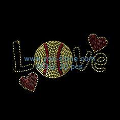 Rhinestone Transfers Motifs, New Product Love Softball Rhinestone Design