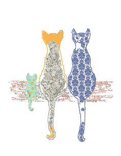 children's art cat art baby girl nursery cat by OzscapeDesigns