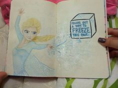 Wreck this journal inspiration - frozen (disney) inspired