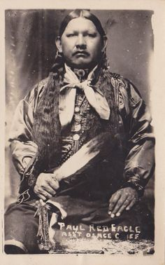 Native American Osage Indian | RPPC Postcard Native American Indian Paul Red Eagle AST Osage Chief ...