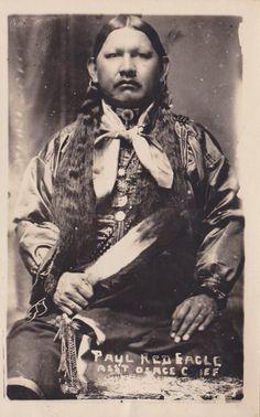 Native American Osage Indian   RPPC Postcard Native American Indian Paul Red Eagle AST Osage Chief ...