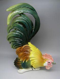 VINTAGE-KARL-ENS-VOLKSTEDT-PORCELAIN-COCKEREL-ROOSTER-BIRD-FIGURINE Bird Sculpture, Sculptures, Ceramic Chicken, Roosters, China Porcelain, Poultry, Carving, Ceramics, Vintage