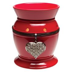 """Be Mine"" #Scentsy Warmer of the Month January 2013.  Sleek shiny red finish, rick black cord, and dazzling diamond heart pendant = a sure winner!    https://sattler.scentsy.us"