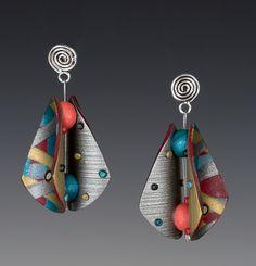 Wings Teardrop Earrings by Arden Bardol: Polymer Clay Earrings available at www.artfulhome.com