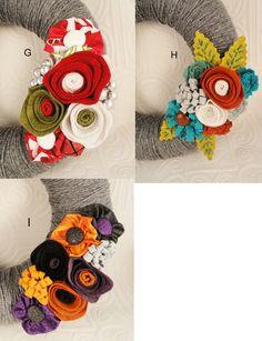 yarn wreath with interchangeable flowers
