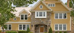 *Our favorite exterior color scheme: Warm colors give this home welcoming appeal. Body (boardwalk 1102), trim (timid white 2148-60), door (etruscan AF-355)