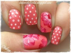 """Base is ArtDeco Mini - 536, flowers are made with Kobo - 23 Tango Red mixed with Avon - French Manicure (what I used for dots too)"""