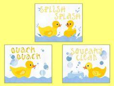 Rubber Duck Kids Bath Decor Kids Duck Wall Art by LuminaGallery, $40.00