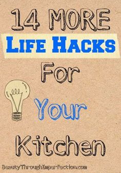 14 More Life Hacks For Your Kitchen! These are some great ideas for cleaning and organizing!
