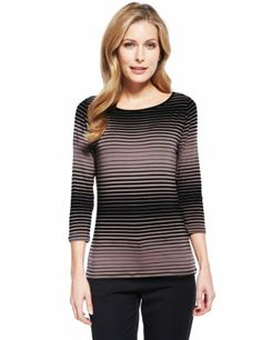 M&S Collection Engineered Striped Top with StayNEW™-Marks & Spencer