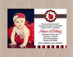 Ladybug Birthday Party Invitations by Honeyprint on Etsy, $15.00