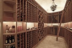With its barrel-vaulted ceiling and unique climate control, the wine cellar in this luxurious Malibu mansion is equipped to hold several thousand bottles.