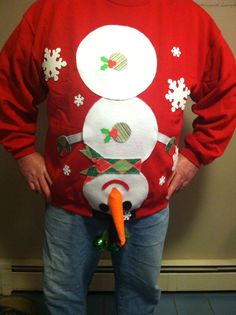 Homemade ugly christmas sweater! Crew neck sweater bought for $10 ...