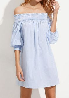 d214b4fe1be2 Striped Tie Off Shoulder Lantern Sleeve Mini Dress from  BelleLily.com  Promoted Stylish Dresses