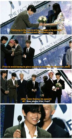 Taehyung: *screaming internally* f me (I only noticed that damn respectful space between the MC and Tae. Bts Namjoon, V Taehyung, Hoseok, Bts Memes Hilarious, Bts Funny Videos, It's Funny, Vmin, K Pop, Bts Facts
