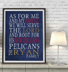 "New Orleans Pelicans basketball inspired Personalized Art Print- ""As for Me""- Unframed"