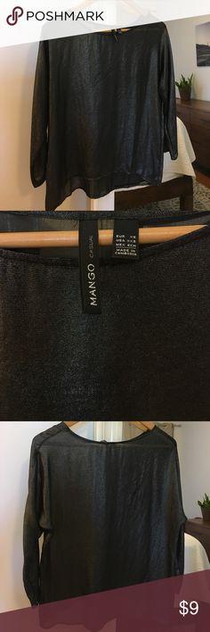 Mango Sheer Black/Silver Dolman Top Mango Sheer Black/Silver Dolman Top - XS - 3/4 length sleeves, subtle high low hem. Worn once. Mango Tops Blouses