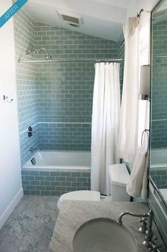 bathroom tile - color, subway- note how the subway tile is laid around bathtub