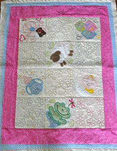 Machine Appliqued Baby Quilt by InitialMemory on Etsy, $95.00
