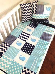 WHALE Baby Quilt Set, Baby Boy Crib Quilt and two cushion covers, this is so cute! Maybe for Camden's big-boy room Baby Boy Cribs, Baby Boy Rooms, Baby Boy Nurseries, Baby Boys, The Babys, Quilt Baby, Diy Bebe, Everything Baby, Baby Time