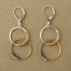 Sterling and 14kt gold fill links with alternating silver & 14kt goldfill wraps earring