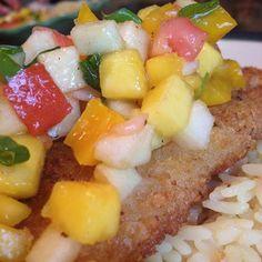 Mango Salsa Recipe Served with Panko Crusted Swai - e-Woke