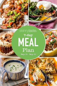 A free 7-day, flexible weight loss meal plan including breakfast, lunch and dinner and a shopping list. All recipes include calories and updated WW Smart Points. #mealplan Weight Loss Meal Plan, Weight Watchers Meals, Meal Prep Cookbook, Cooking Recipes, Healthy Recipes, Healthy Meals, Cooking Herbs, Healthy Weight, Delicious Recipes