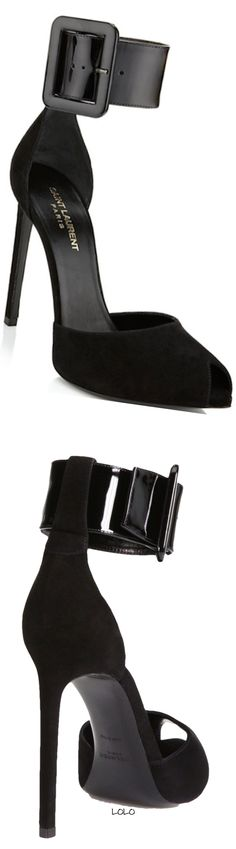 #saintlaurent Paris Suede & Patent Leather Ankle-Strap Pumps