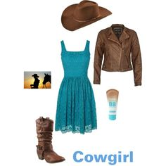 lace teal dress, leather jacket, and cowgirl boots, created by iamanarnia on Polyvore
