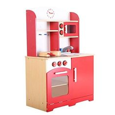 Giantex Wood Kitchen Toy Kids Cooking Pretend Play Set Toddler Wooden Playset red