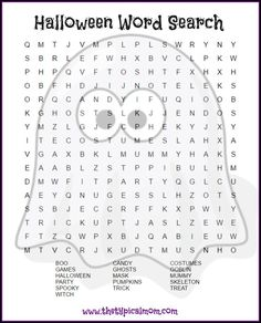 Here are several free Halloween word search printables pages you can give your kids or students! LOTS of free Halloween printable pages here. via /thetypicalmom/ halloween printables Halloween Puzzles, Halloween Word Search Printables, Halloween Worksheets, Halloween Words, Halloween Activities, Holiday Activities, Halloween Treats, Printable Word Search Puzzles, Halloween