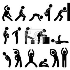 Tableau,Poster Exercice gens homme athlétique étirements Icône Pictogramme Symbole