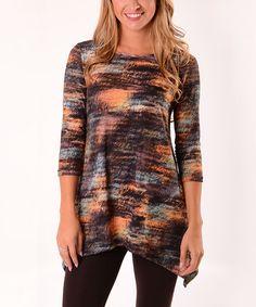 Look at this #zulilyfind! Brown & Orange Abstract Sidetail Tunic #zulilyfinds